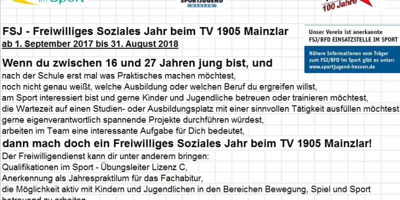 FSJ - Freiwilliges Soziales Jahr beim TV 1905 Mainzlar