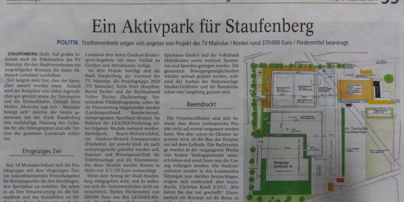 Projekt Aktivpark des TV 1905 Mainzlar